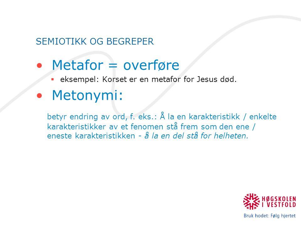 SEMIOTIKK OG BEGREPER Metafor = overføre  eksempel: Korset er en metafor for Jesus død. Metonymi: betyr endring av ord, f. eks.: Å la en karakteristi