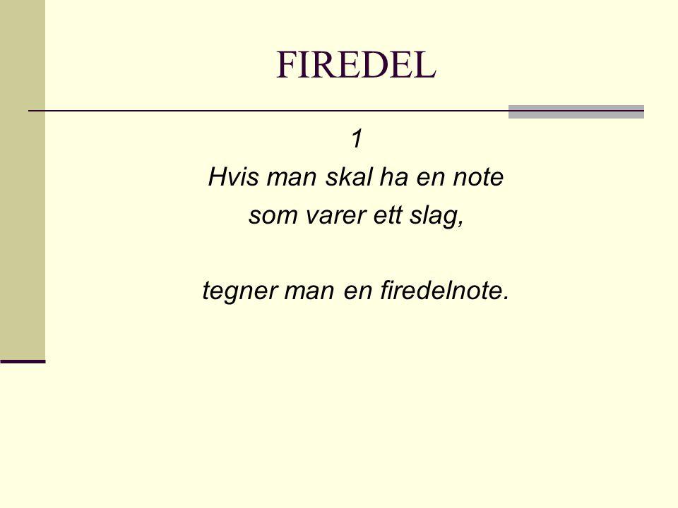 FIREDEL 1 Hvis man skal ha en note som varer ett slag, tegner man en firedelnote.
