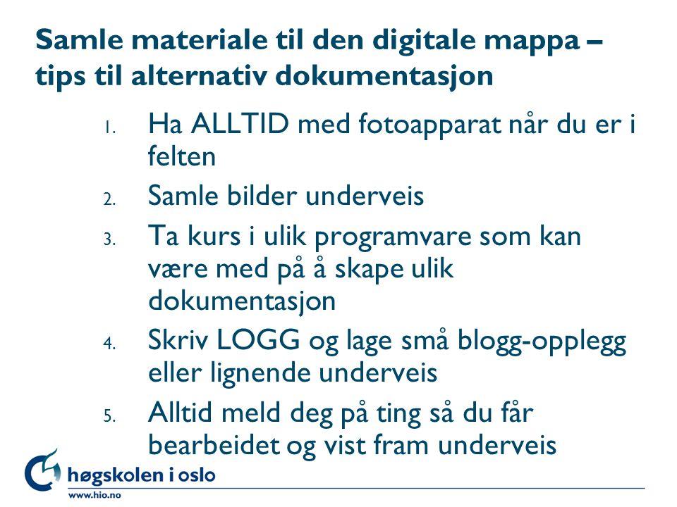 Samle materiale til den digitale mappa – tips til alternativ dokumentasjon 1.