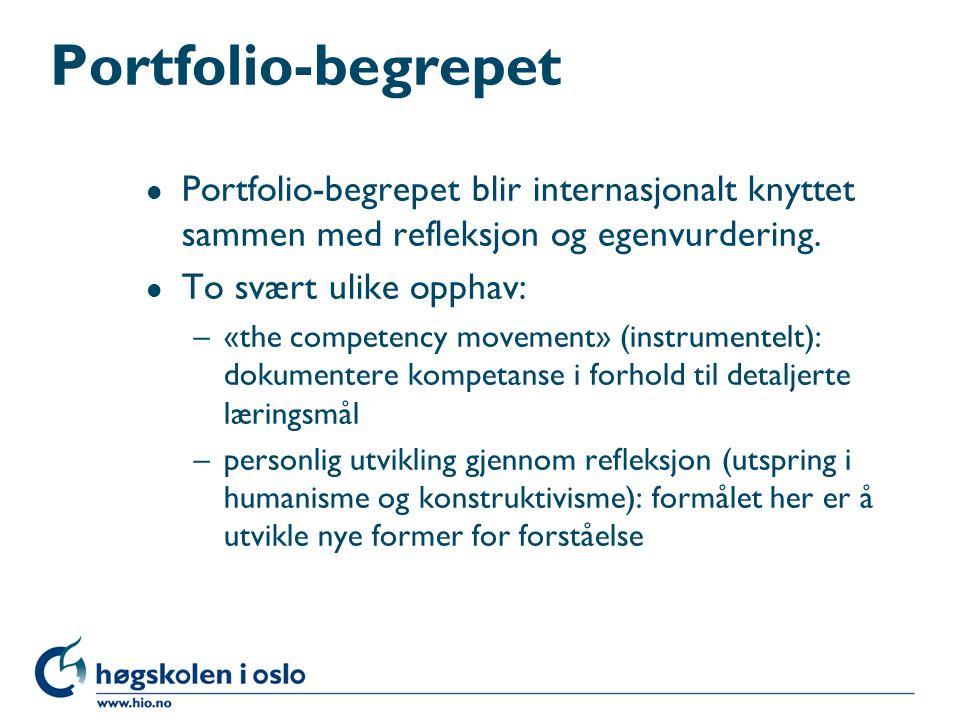 Portfolio-begrepet l Portfolio-begrepet blir internasjonalt knyttet sammen med refleksjon og egenvurdering.