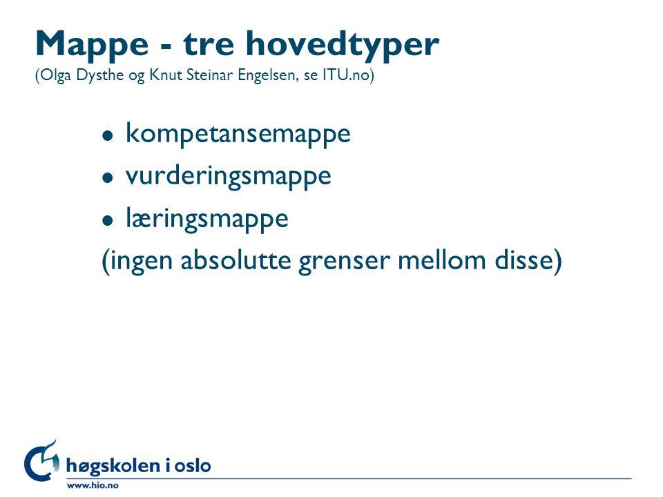 Mappe - tre hovedtyper (Olga Dysthe og Knut Steinar Engelsen, se ITU.no) l kompetansemappe l vurderingsmappe l læringsmappe (ingen absolutte grenser mellom disse)