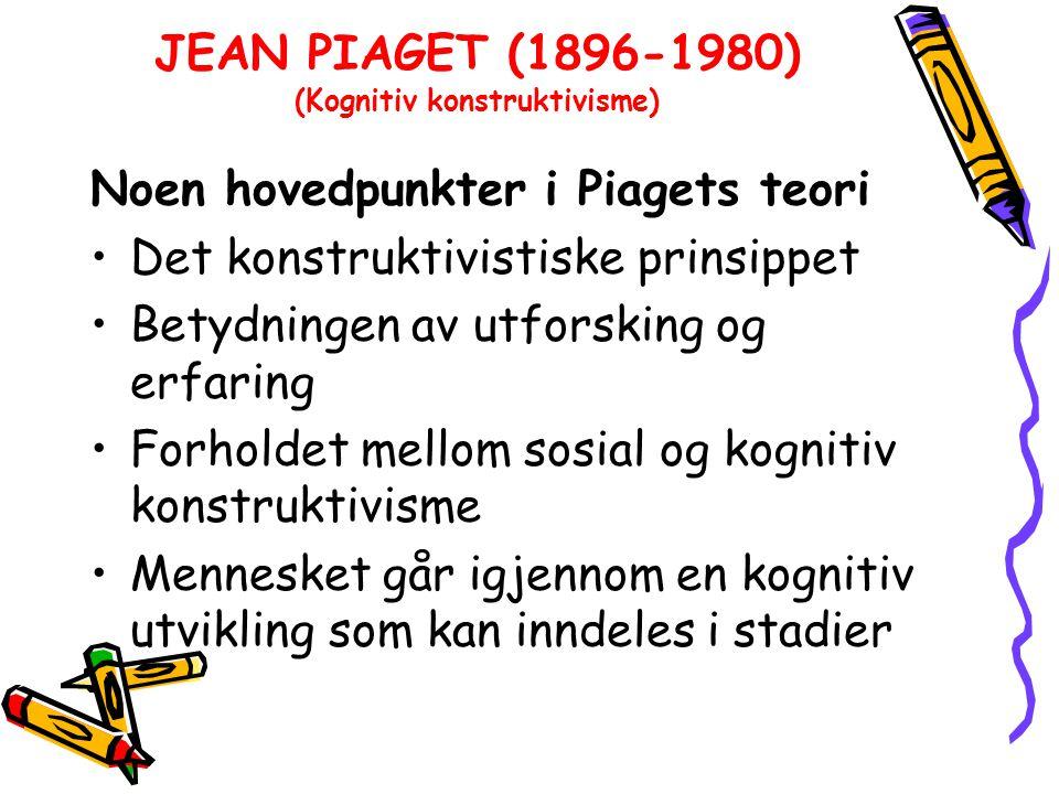 JEAN PIAGET (1896-1980) (Kognitiv konstruktivisme) Noen hovedpunkter i Piagets teori Det konstruktivistiske prinsippet Betydningen av utforsking og erfaring Forholdet mellom sosial og kognitiv konstruktivisme Mennesket går igjennom en kognitiv utvikling som kan inndeles i stadier
