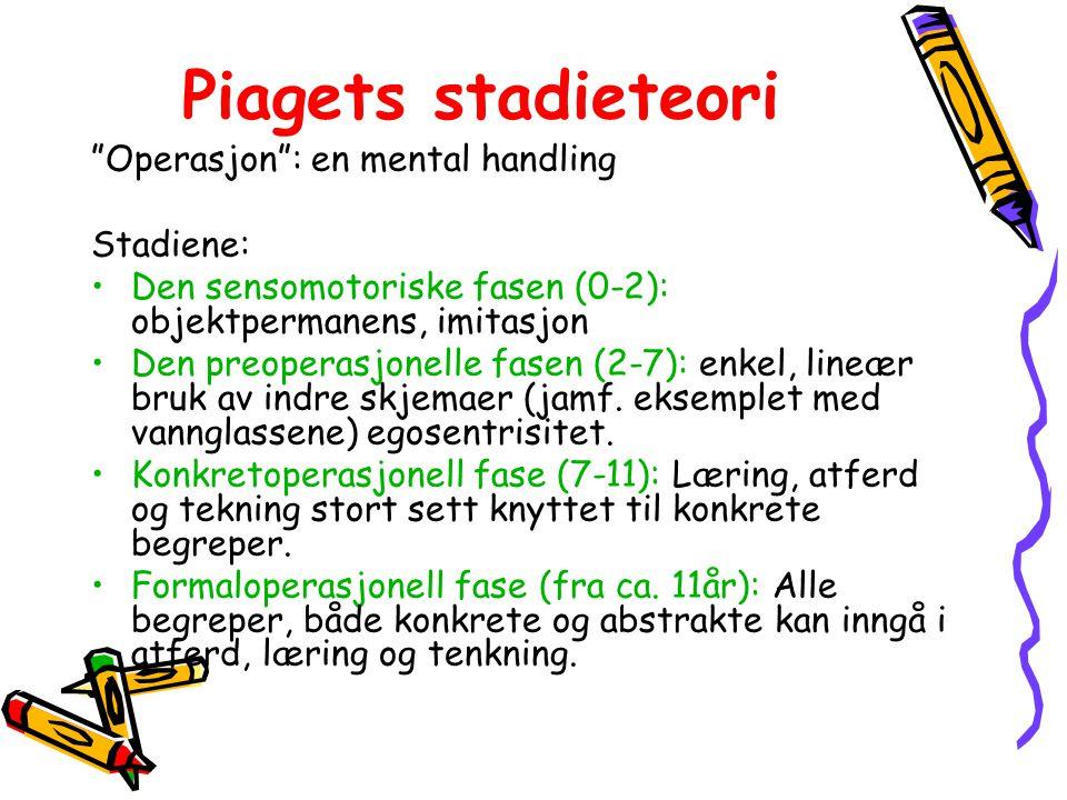 Piagets stadieteori Operasjon : en mental handling Stadiene: Den sensomotoriske fasen (0-2): objektpermanens, imitasjon Den preoperasjonelle fasen (2-7): enkel, lineær bruk av indre skjemaer (jamf.