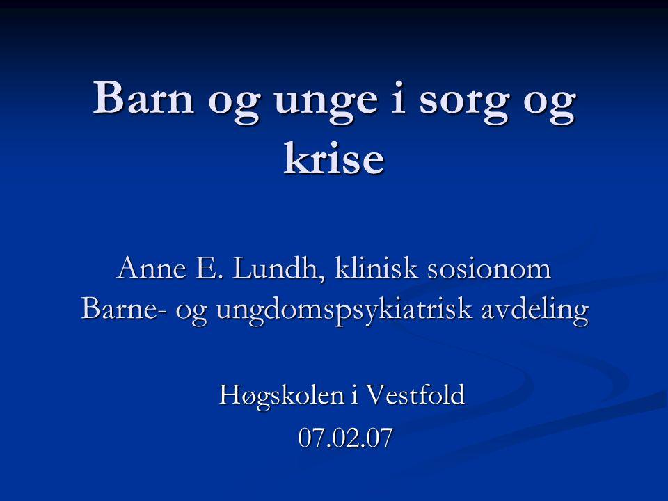 Barn og unge i sorg og krise Anne E. Lundh, klinisk sosionom Barne- og ungdomspsykiatrisk avdeling Høgskolen i Vestfold 07.02.07 07.02.07