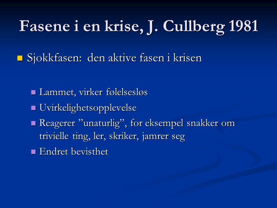 Fasene i en krise, J. Cullberg 1981 Sjokkfasen: den aktive fasen i krisen Sjokkfasen: den aktive fasen i krisen Lammet, virker følelsesløs Lammet, vir