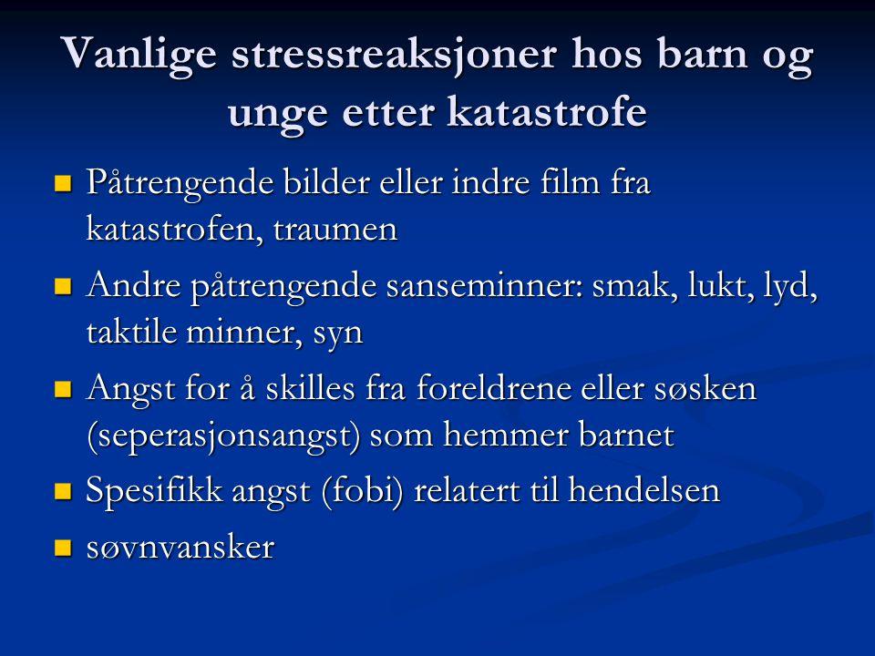 Vanlige stressreaksjoner hos barn og unge etter katastrofe Påtrengende bilder eller indre film fra katastrofen, traumen Påtrengende bilder eller indre
