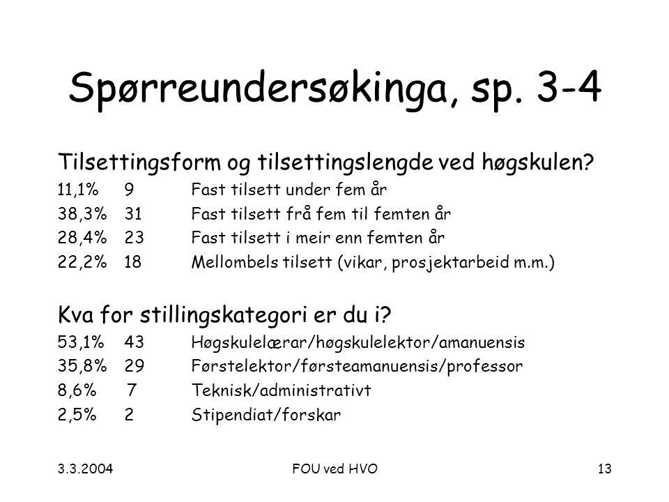 3.3.2004FOU ved HVO13 Spørreundersøkinga, sp.