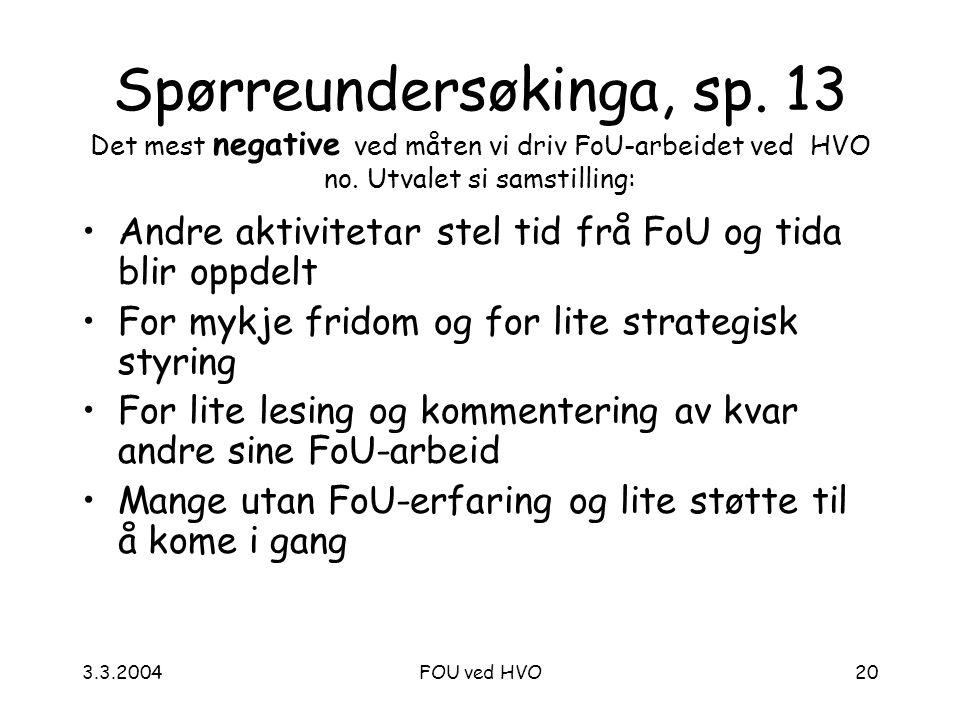 3.3.2004FOU ved HVO20 Spørreundersøkinga, sp.