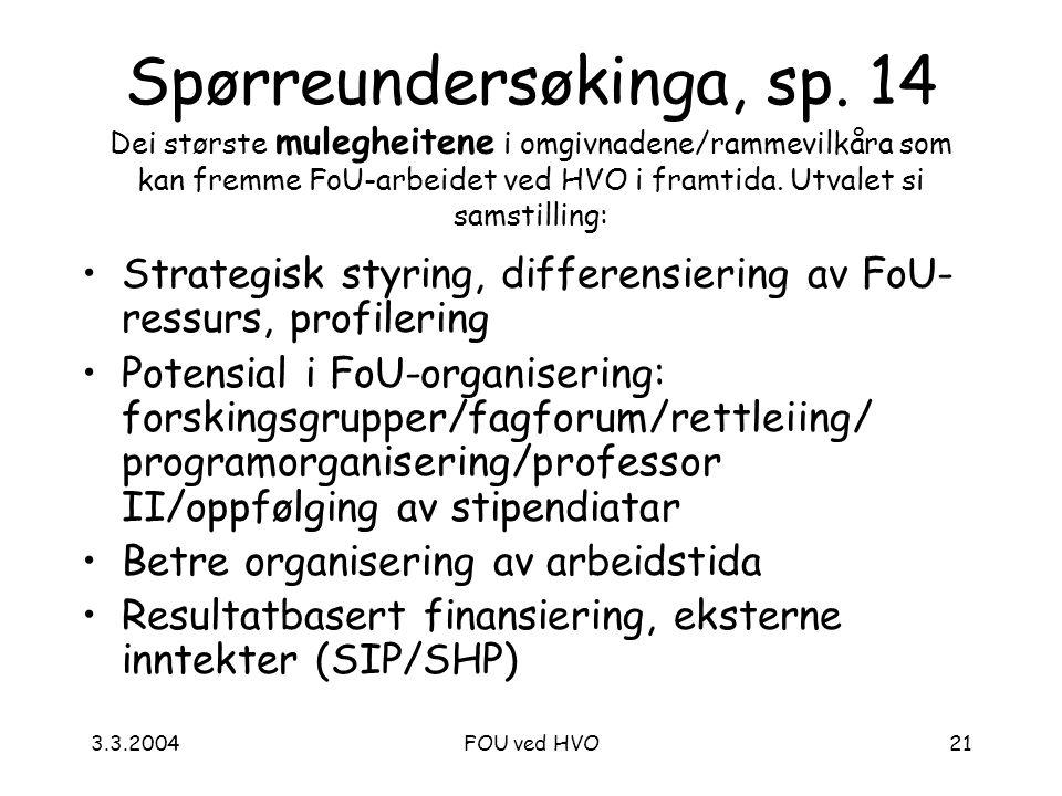 3.3.2004FOU ved HVO21 Spørreundersøkinga, sp.
