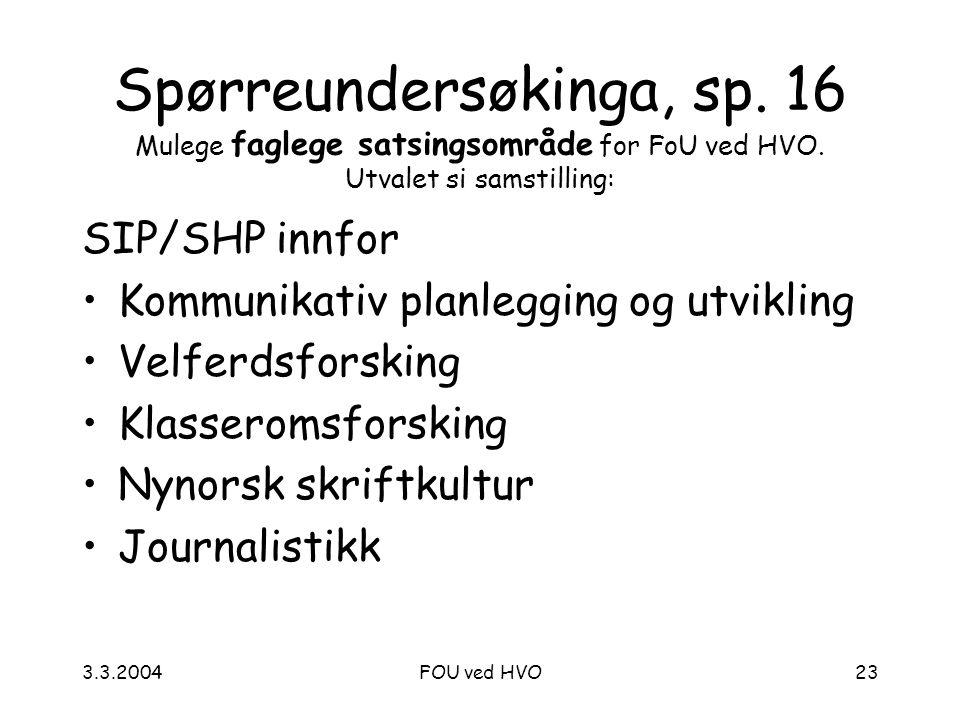 3.3.2004FOU ved HVO23 Spørreundersøkinga, sp. 16 Mulege faglege satsingsområde for FoU ved HVO.