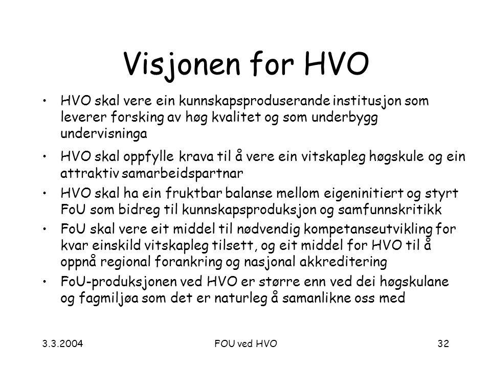3.3.2004FOU ved HVO32 Visjonen for HVO HVO skal vere ein kunnskapsproduserande institusjon som leverer forsking av høg kvalitet og som underbygg undervisninga HVO skal oppfylle krava til å vere ein vitskapleg høgskule og ein attraktiv samarbeidspartnar HVO skal ha ein fruktbar balanse mellom eigeninitiert og styrt FoU som bidreg til kunnskapsproduksjon og samfunnskritikk FoU skal vere eit middel til nødvendig kompetanseutvikling for kvar einskild vitskapleg tilsett, og eit middel for HVO til å oppnå regional forankring og nasjonal akkreditering FoU-produksjonen ved HVO er større enn ved dei høgskulane og fagmiljøa som det er naturleg å samanlikne oss med