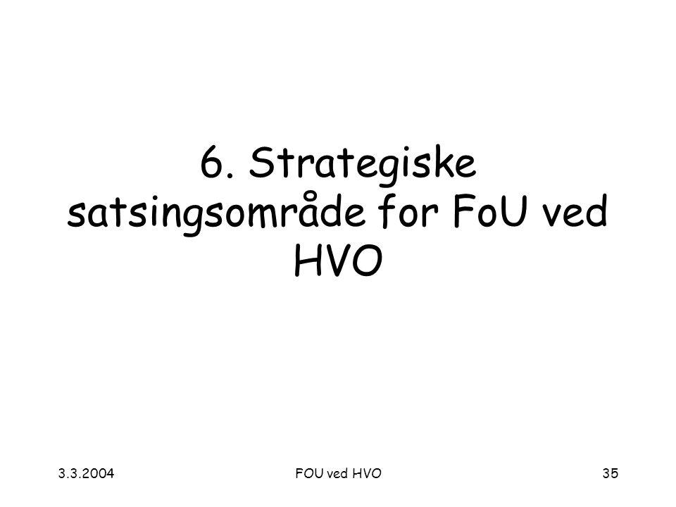 3.3.2004FOU ved HVO35 6. Strategiske satsingsområde for FoU ved HVO