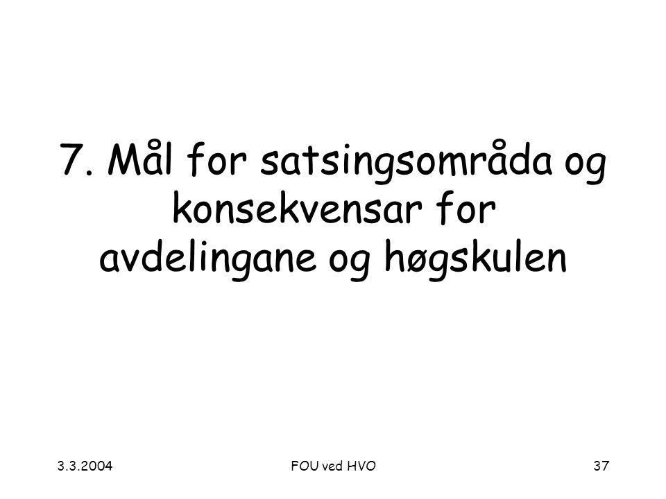 3.3.2004FOU ved HVO37 7. Mål for satsingsområda og konsekvensar for avdelingane og høgskulen