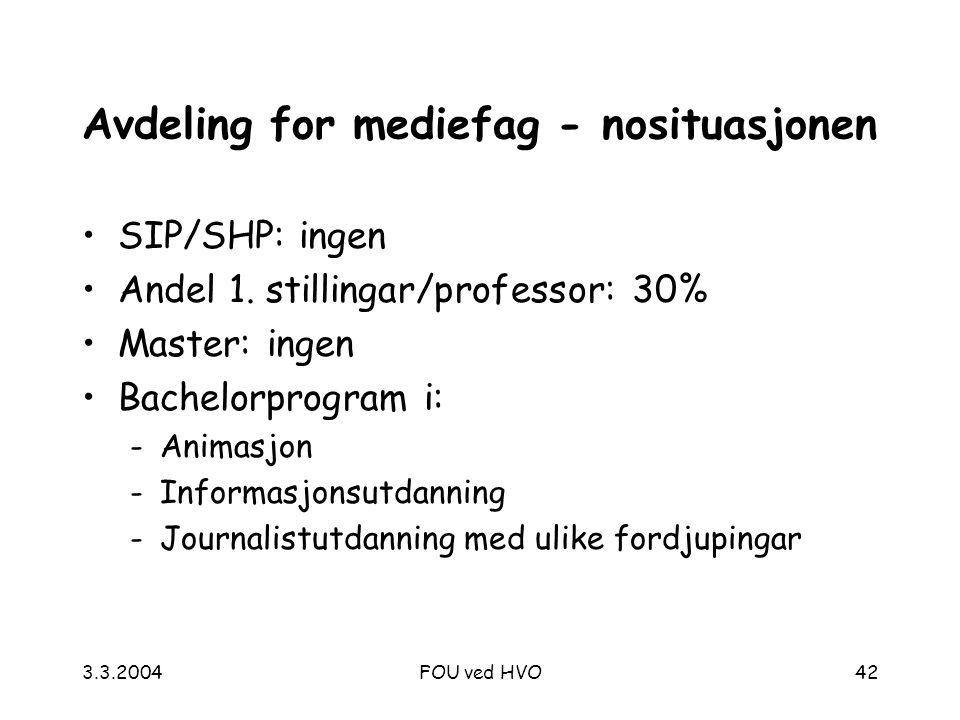 3.3.2004FOU ved HVO42 Avdeling for mediefag - nosituasjonen SIP/SHP: ingen Andel 1.