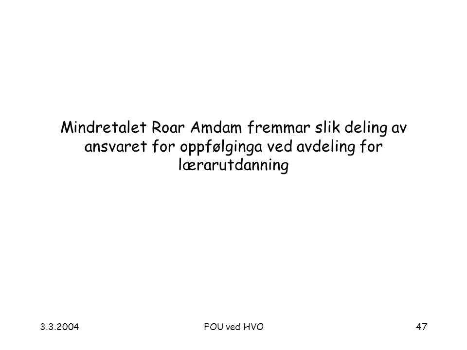 3.3.2004FOU ved HVO47 Mindretalet Roar Amdam fremmar slik deling av ansvaret for oppfølginga ved avdeling for lærarutdanning