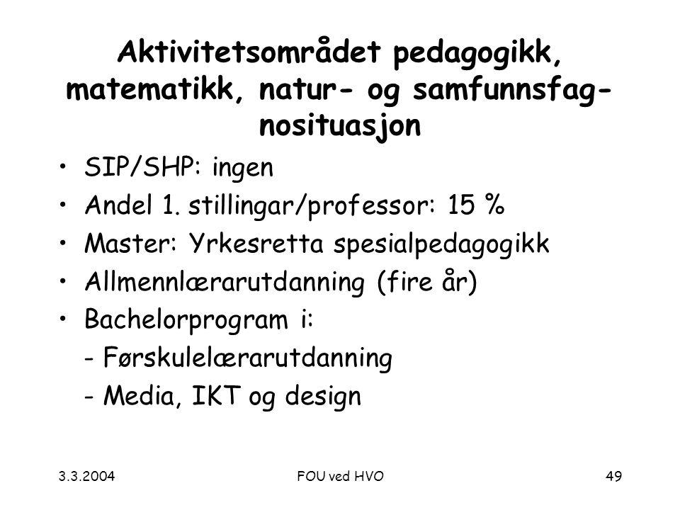 3.3.2004FOU ved HVO49 Aktivitetsområdet pedagogikk, matematikk, natur- og samfunnsfag- nosituasjon SIP/SHP: ingen Andel 1.