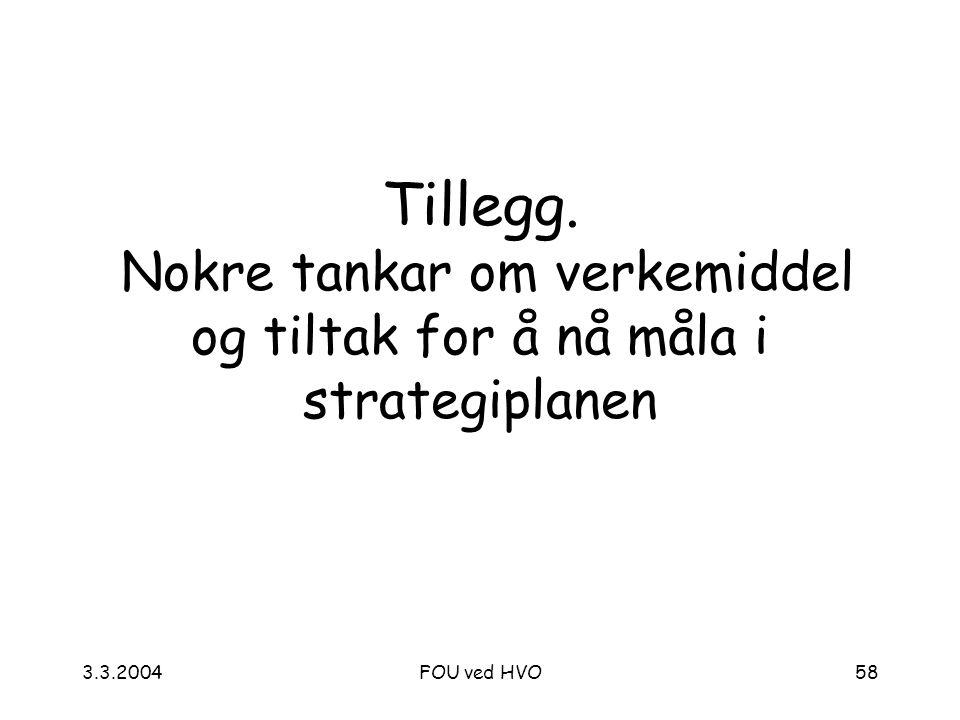 3.3.2004FOU ved HVO58 Tillegg. Nokre tankar om verkemiddel og tiltak for å nå måla i strategiplanen