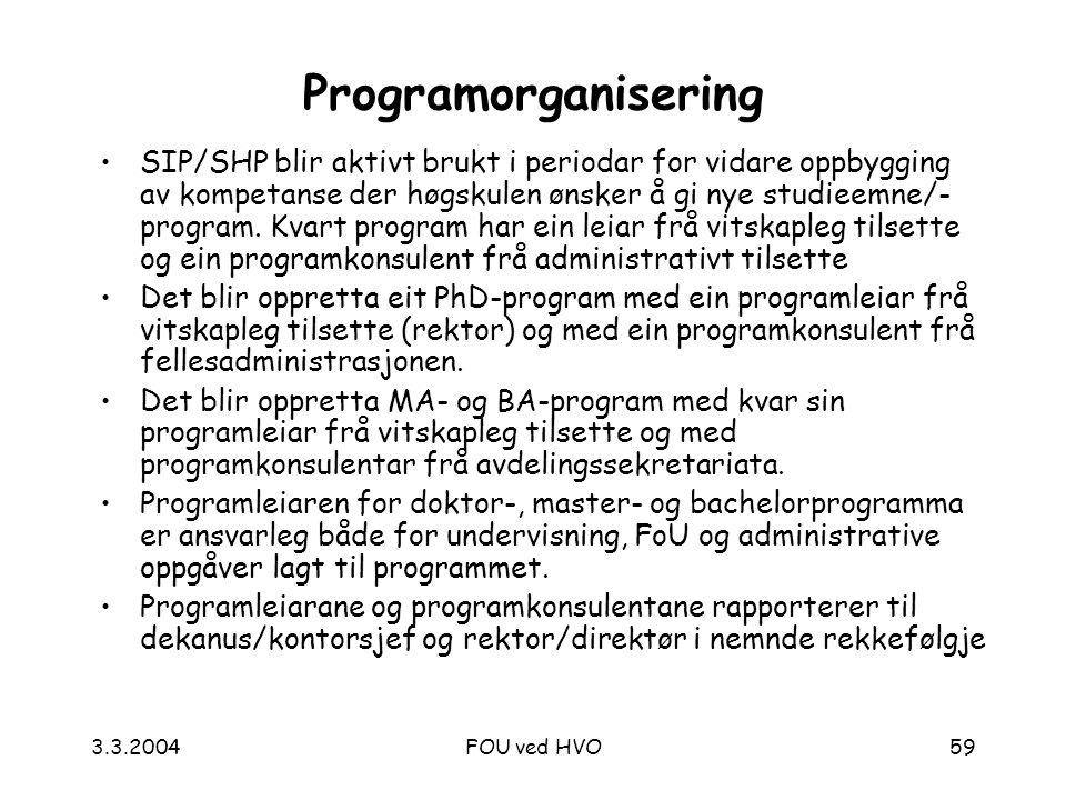 3.3.2004FOU ved HVO59 Programorganisering SIP/SHP blir aktivt brukt i periodar for vidare oppbygging av kompetanse der høgskulen ønsker å gi nye studieemne/- program.