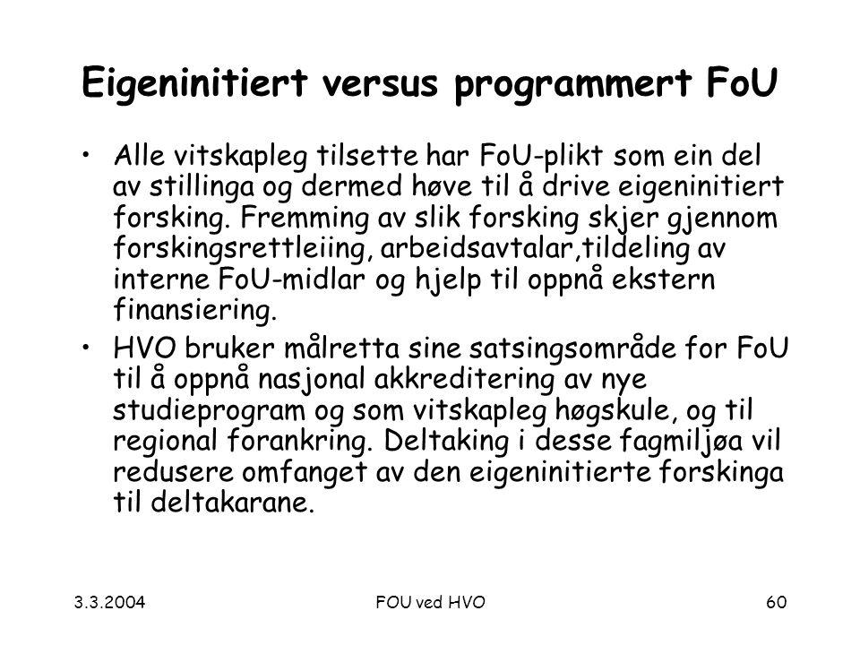 3.3.2004FOU ved HVO60 Eigeninitiert versus programmert FoU Alle vitskapleg tilsette har FoU-plikt som ein del av stillinga og dermed høve til å drive eigeninitiert forsking.
