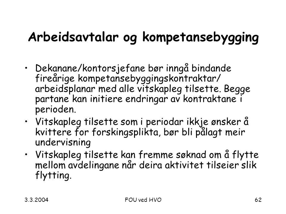 3.3.2004FOU ved HVO62 Arbeidsavtalar og kompetansebygging Dekanane/kontorsjefane bør inngå bindande fireårige kompetansebyggingskontraktar/ arbeidsplanar med alle vitskapleg tilsette.