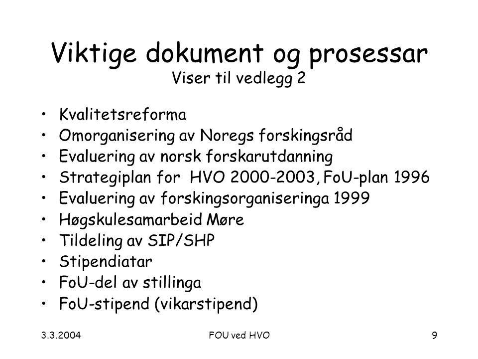 3.3.2004FOU ved HVO9 Viktige dokument og prosessar Viser til vedlegg 2 Kvalitetsreforma Omorganisering av Noregs forskingsråd Evaluering av norsk forskarutdanning Strategiplan for HVO 2000-2003, FoU-plan 1996 Evaluering av forskingsorganiseringa 1999 Høgskulesamarbeid Møre Tildeling av SIP/SHP Stipendiatar FoU-del av stillinga FoU-stipend (vikarstipend)