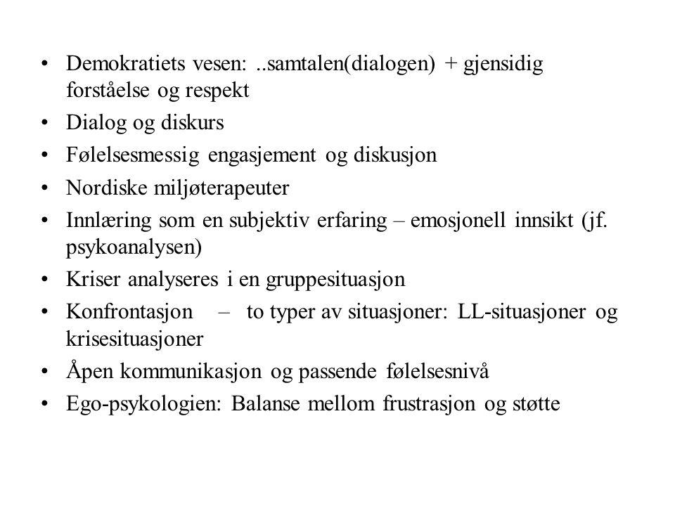 Demokratiets vesen:..samtalen(dialogen) + gjensidig forståelse og respekt Dialog og diskurs Følelsesmessig engasjement og diskusjon Nordiske miljøterapeuter Innlæring som en subjektiv erfaring – emosjonell innsikt (jf.