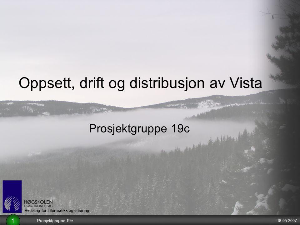 Avdeling for informatikk og e-læring 16.05.2007Prosjektgruppe 19c 1 Oppsett, drift og distribusjon av Vista Prosjektgruppe 19c