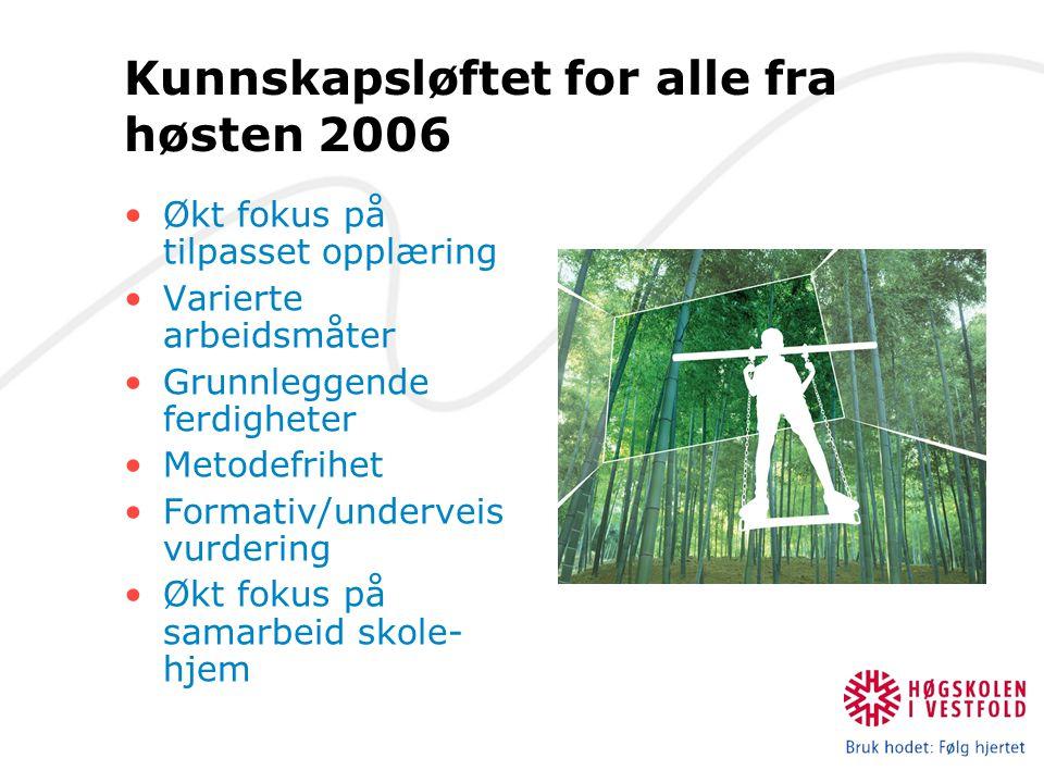 Kunnskapsløftet for alle fra høsten 2006 Økt fokus på tilpasset opplæring Varierte arbeidsmåter Grunnleggende ferdigheter Metodefrihet Formativ/underv