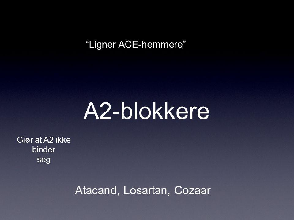 """A2-blokkere Atacand, Losartan, Cozaar Gjør at A2 ikke binder seg """"Ligner ACE-hemmere"""""""