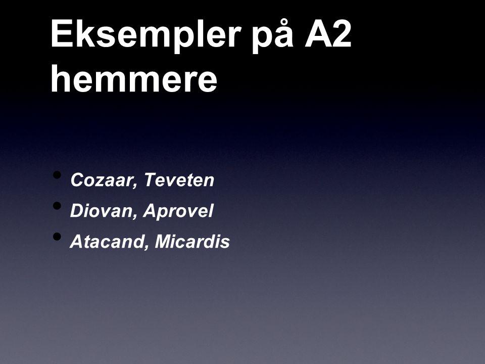 Eksempler på A2 hemmere Cozaar, Teveten Diovan, Aprovel Atacand, Micardis