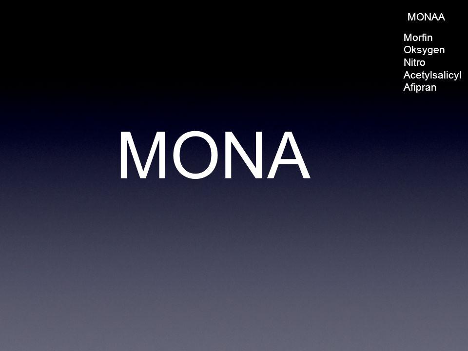 MONA MONAA Morfin Oksygen Nitro Acetylsalicyl Afipran