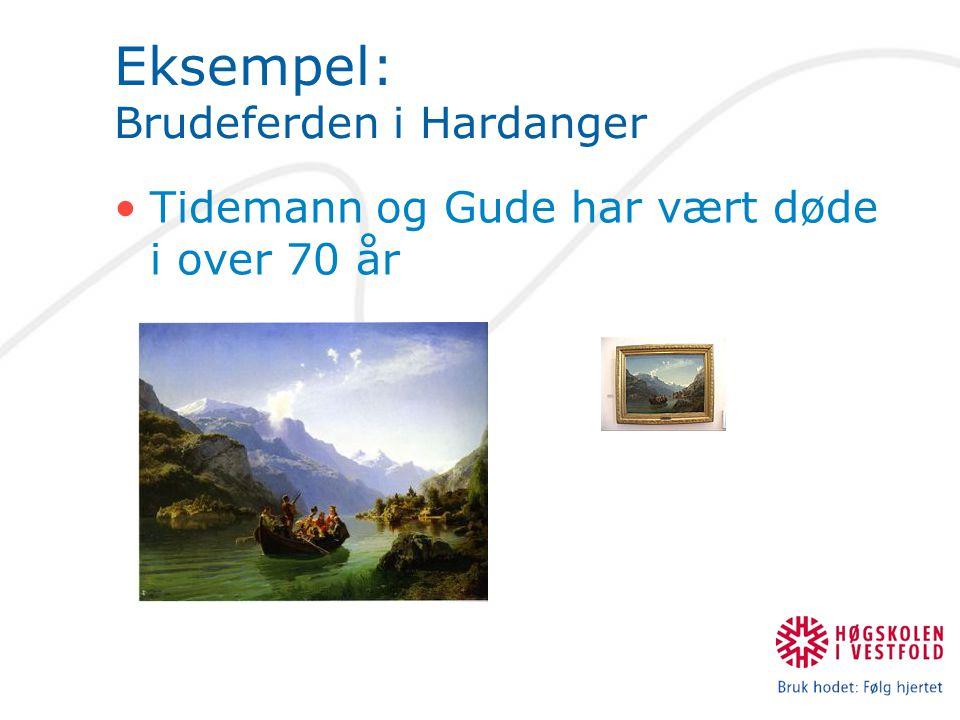 Eksempel: Brudeferden i Hardanger Tidemann og Gude har vært døde i over 70 år