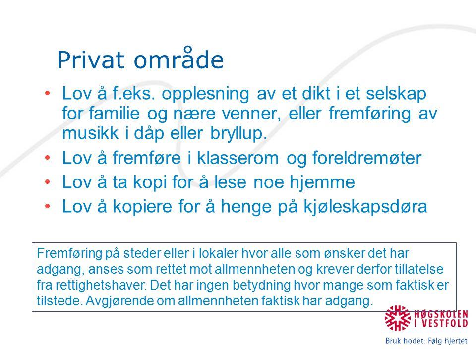 Privat område Lov å f.eks.