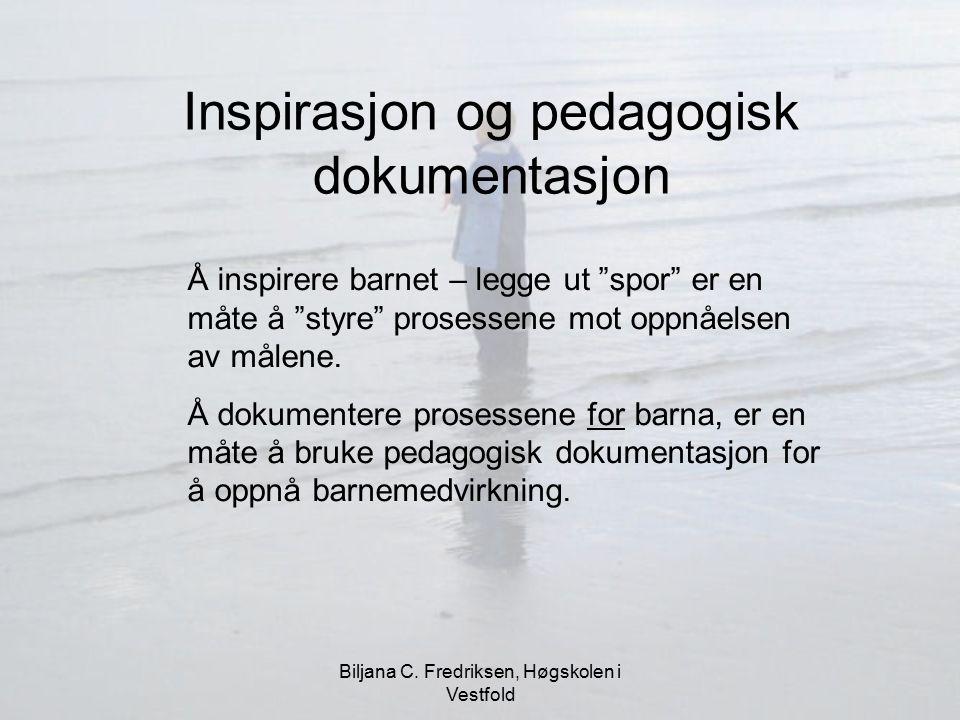 """Biljana C. Fredriksen, Høgskolen i Vestfold Å inspirere barnet – legge ut """"spor"""" er en måte å """"styre"""" prosessene mot oppnåelsen av målene. Å dokumente"""
