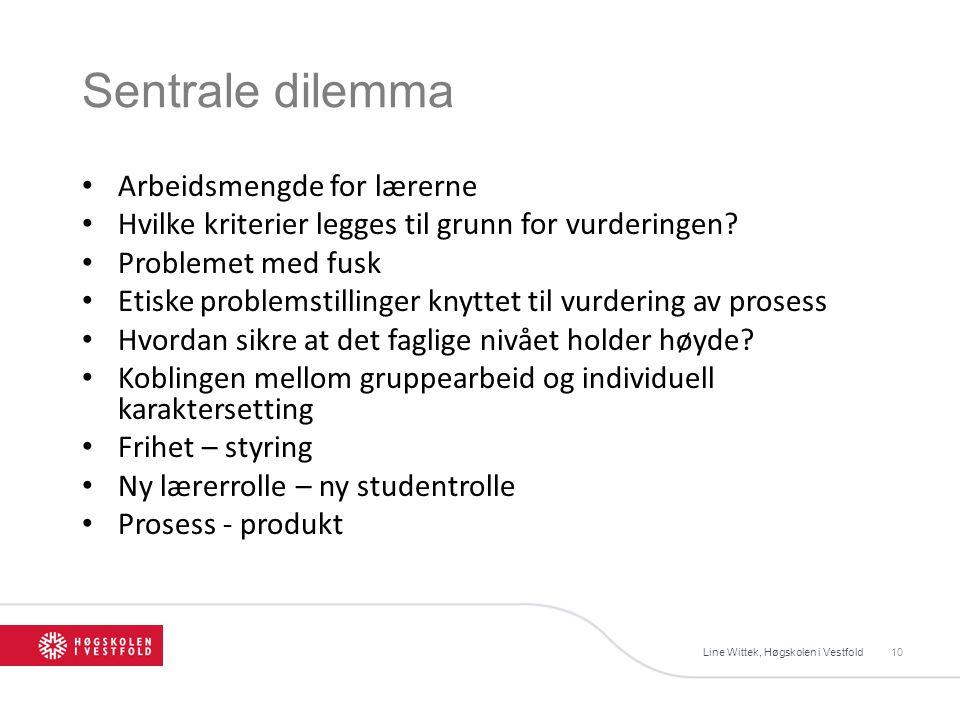 Sentrale dilemma Line Wittek, Høgskolen i Vestfold10 Arbeidsmengde for lærerne Hvilke kriterier legges til grunn for vurderingen.