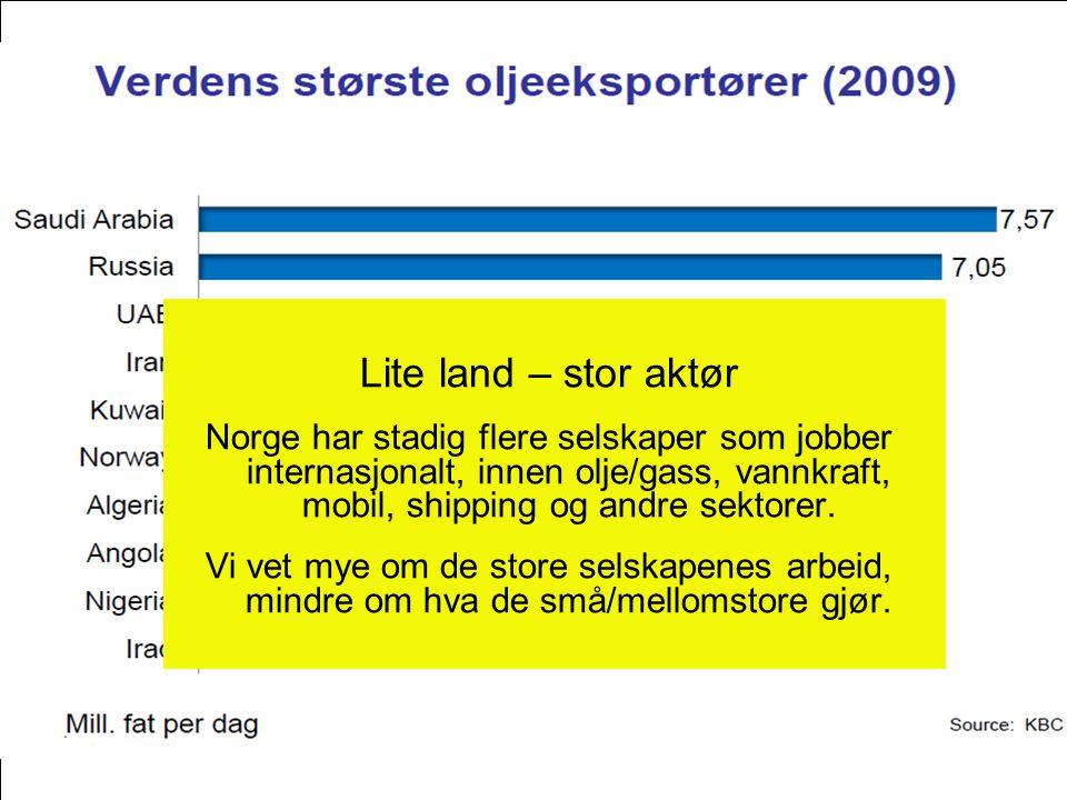 Lite land – stor aktør Norge har stadig flere selskaper som jobber internasjonalt, innen olje/gass, vannkraft, mobil, shipping og andre sektorer. Vi v