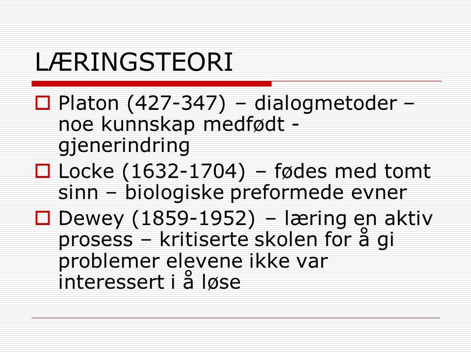 LÆRINGSTEORI  Montessori (1870-1952) – gi barn sanseerfaringer gjennom systematisk oppbygging av utforskingsmateriell