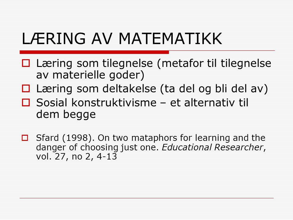 LITT HISTORIKK  Erlwangers artikkel (1973)  Programmert undervisning  Læring primært en atferdsmessig reaksjon på en forelagt situasjon.