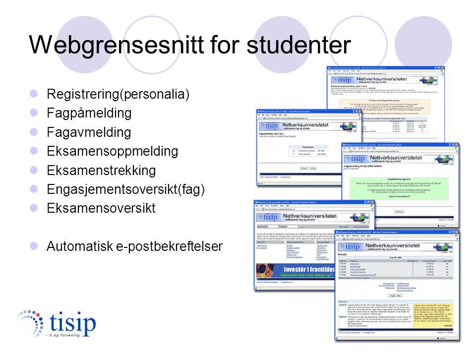 Webgrensesnitt for studenter Registrering(personalia) Fagpåmelding Fagavmelding Eksamensoppmelding Eksamenstrekking Engasjementsoversikt(fag) Eksamensoversikt Automatisk e-postbekreftelser