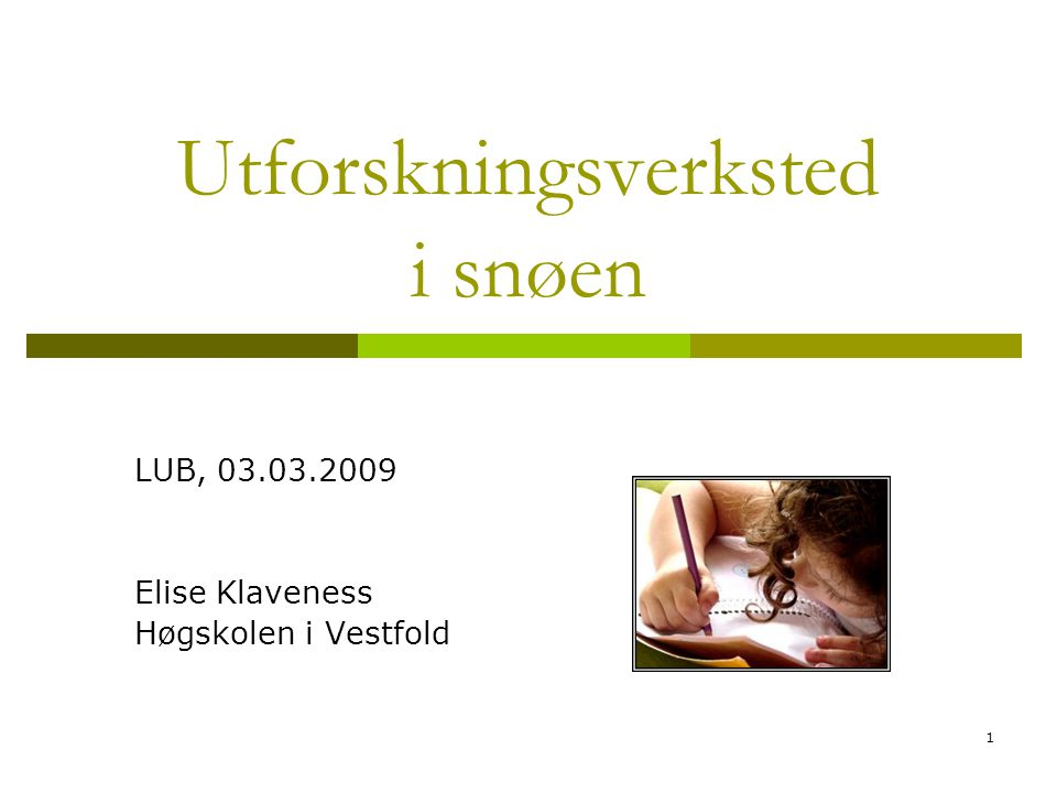1 Utforskningsverksted i snøen LUB, 03.03.2009 Elise Klaveness Høgskolen i Vestfold
