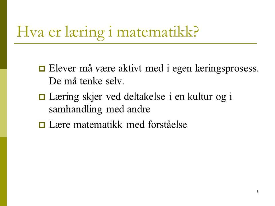 3 Hva er læring i matematikk.  Elever må være aktivt med i egen læringsprosess.