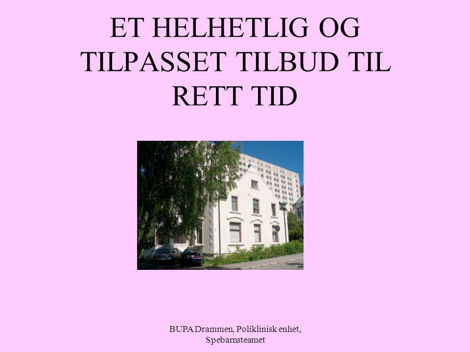 BUPA Drammen, Poliklinisk enhet, Spebarnsteamet ET HELHETLIG OG TILPASSET TILBUD TIL RETT TID