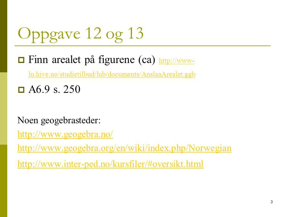 3 Oppgave 12 og 13  Finn arealet på figurene (ca) http://www- lu.hive.no/studietilbud/lub/documents/AnslaaArealet.ggb http://www- lu.hive.no/studieti