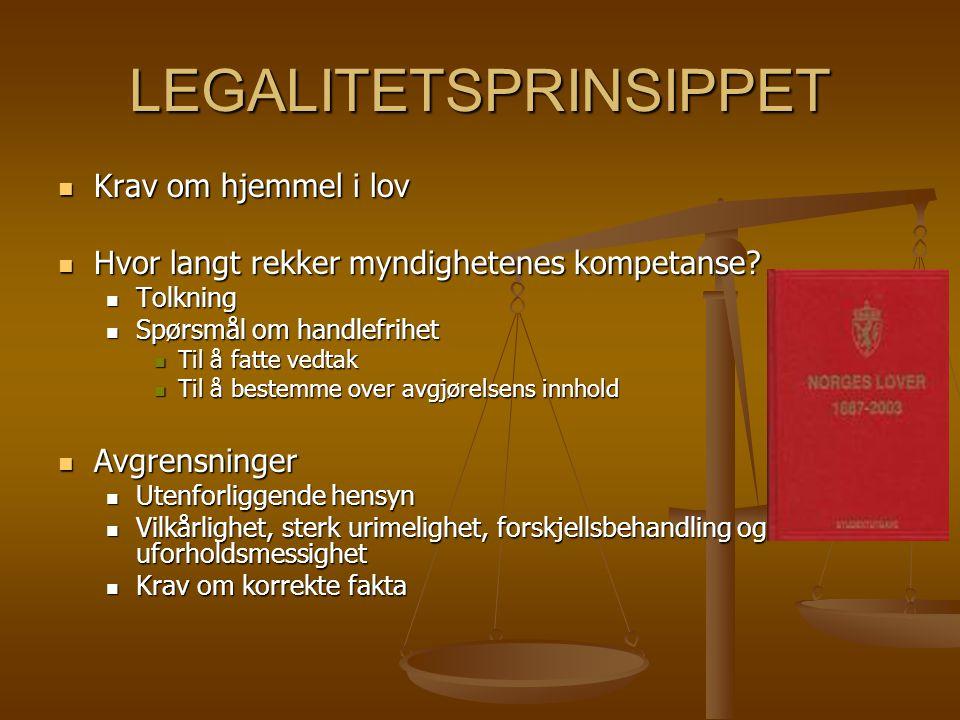 LEGALITETSPRINSIPPET Krav om hjemmel i lov Krav om hjemmel i lov Hvor langt rekker myndighetenes kompetanse? Hvor langt rekker myndighetenes kompetans