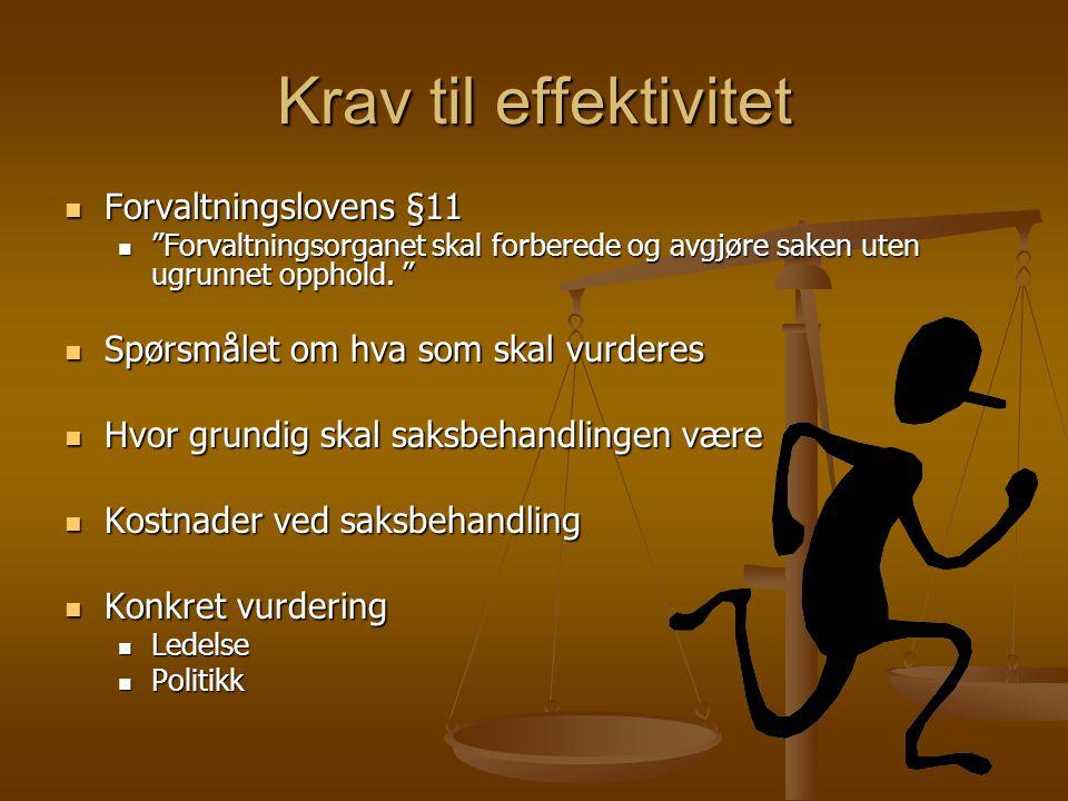 """Krav til effektivitet Forvaltningslovens §11 Forvaltningslovens §11 """"Forvaltningsorganet skal forberede og avgjøre saken uten ugrunnet opphold. """" """"For"""