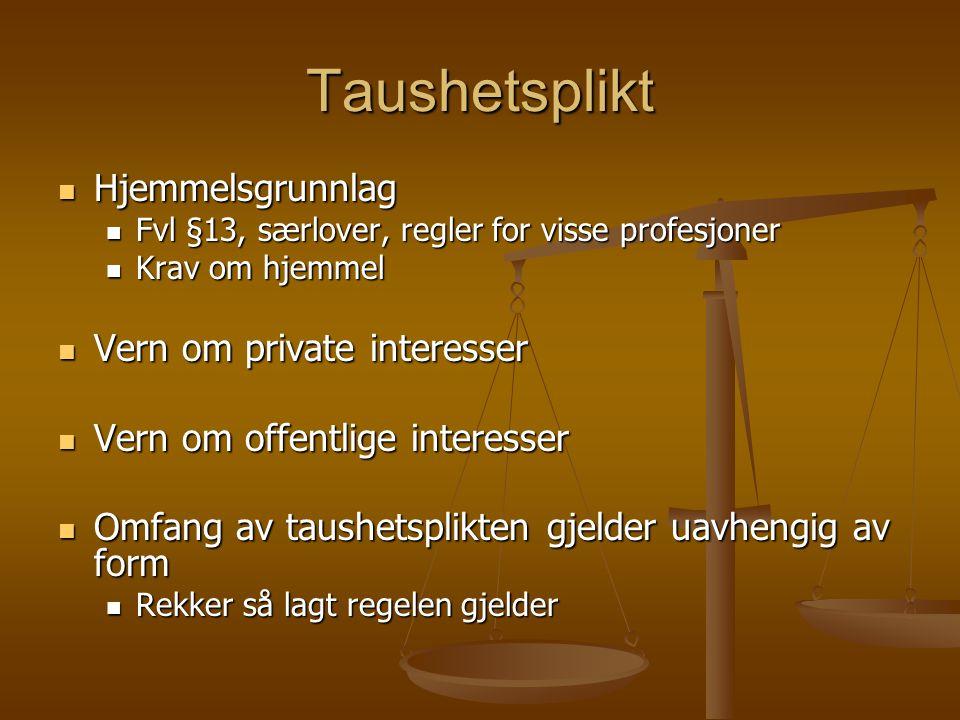 Taushetsplikt Hjemmelsgrunnlag Hjemmelsgrunnlag Fvl §13, særlover, regler for visse profesjoner Fvl §13, særlover, regler for visse profesjoner Krav o