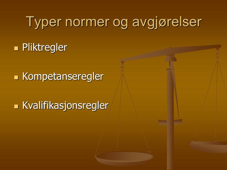 Typer normer og avgjørelser Pliktregler Pliktregler Kompetanseregler Kompetanseregler Kvalifikasjonsregler Kvalifikasjonsregler