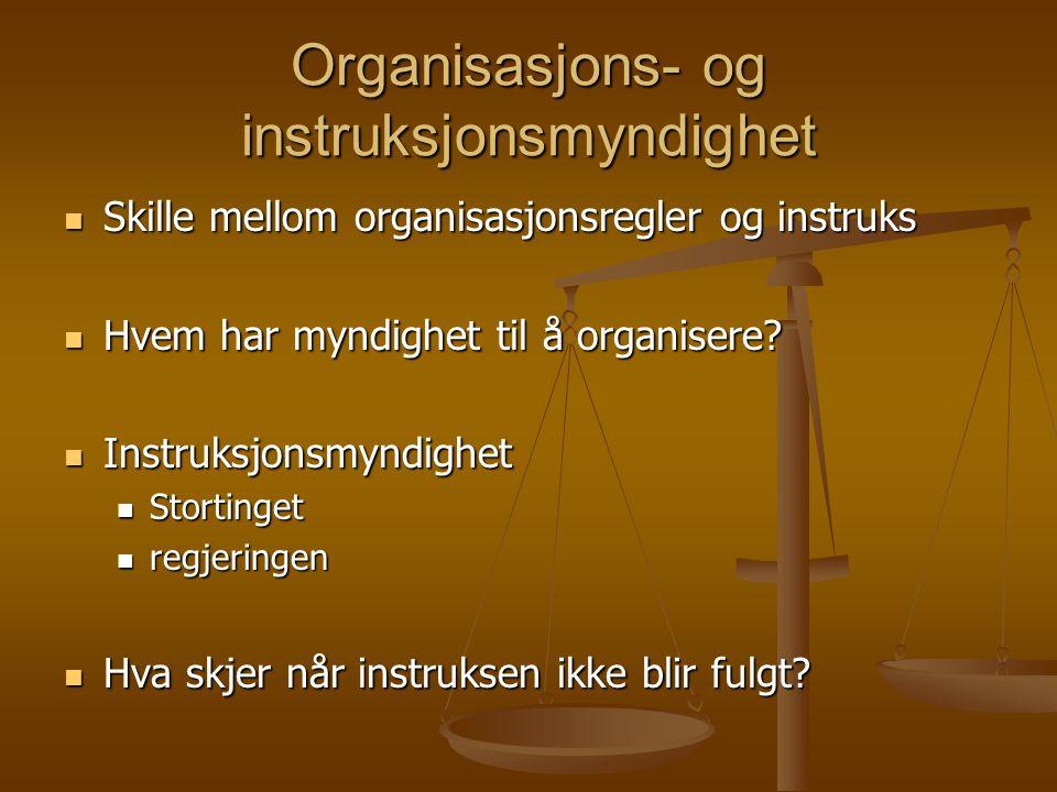 Organisasjons- og instruksjonsmyndighet Skille mellom organisasjonsregler og instruks Skille mellom organisasjonsregler og instruks Hvem har myndighet