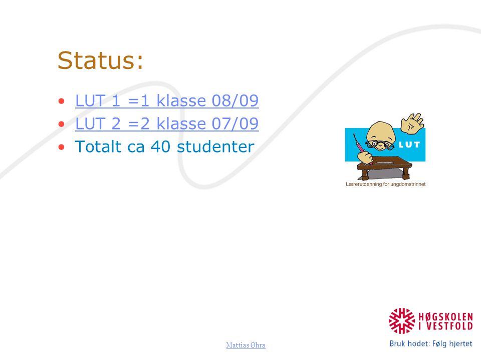 Mattias Øhra Status: LUT 1 =1 klasse 08/09 LUT 2 =2 klasse 07/09 Totalt ca 40 studenter