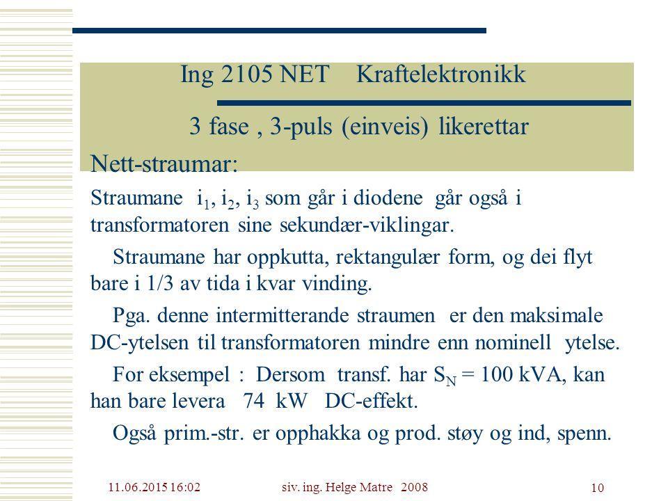 11.06.2015 16:03siv. ing. Helge Matre 2008 10 Ing 2105 NET Kraftelektronikk 3 fase, 3-puls (einveis) likerettar Nett-straumar: Straumane i 1, i 2, i 3
